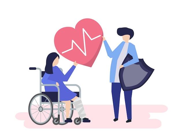 Gente que tiene iconos de seguro de salud