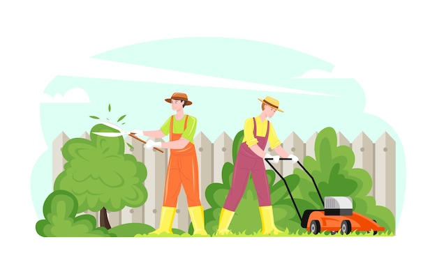 Gente que trabaja de jardinería que corta el césped que corta la ilustración de los arbustos