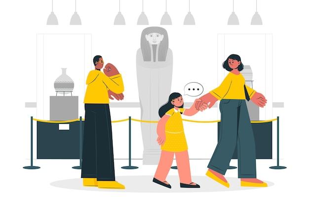 Gente que visita la ilustración del concepto del museo de historia