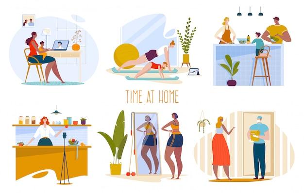 La gente se queda en casa en un conjunto de ilustración de cuarentena, personajes familiares de dibujos animados hacen ejercicios deportivos, cocinan y toman fotos de alimentos