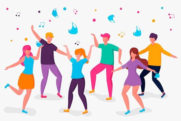 Gente quitándose las máscaras y bailando
