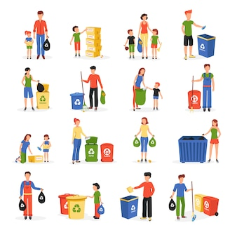 La gente recolecta y clasifica los desechos para reciclar y reutilizar el resumen de la colección de iconos planos aislado