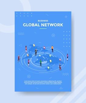 Gente de la red global de negocios de pie n mapa del mundo para la plantilla de banner y volante