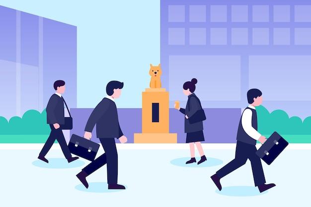 Gente de regreso a la oficina caminando al aire libre