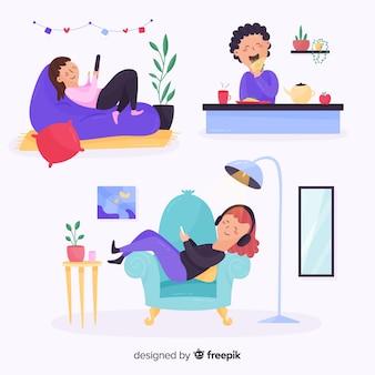 Gente relajándose en casa dibujada a mano
