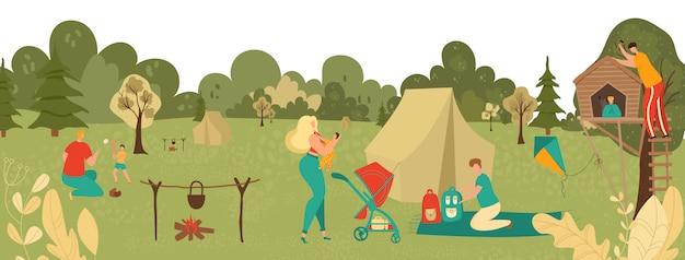 Gente relajándose en el parque con niños, padres jugando con niños, picnic y senderismo en el paisaje de la naturaleza en la ilustración de dibujos animados de verano.