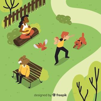 Gente relajandose en el parque