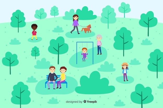 Gente relajándose en el parque