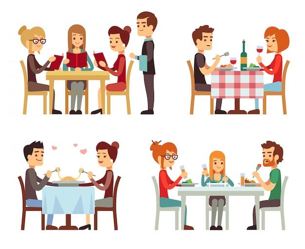 Gente en restaurante comiendo cena conceptos planos vectoriales