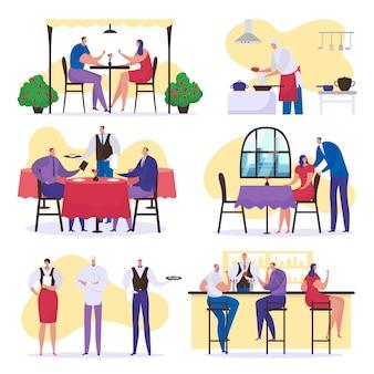 Gente en el restaurante, feliz grupo de hombres y mujeres, amigos junto con comida y bebida, conjunto de ilustraciones. personas cenando, servidas por un camarero, chef cocinero en cafetería o restaurante.