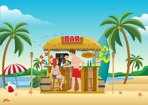 Gente reunida en el bar de la playa