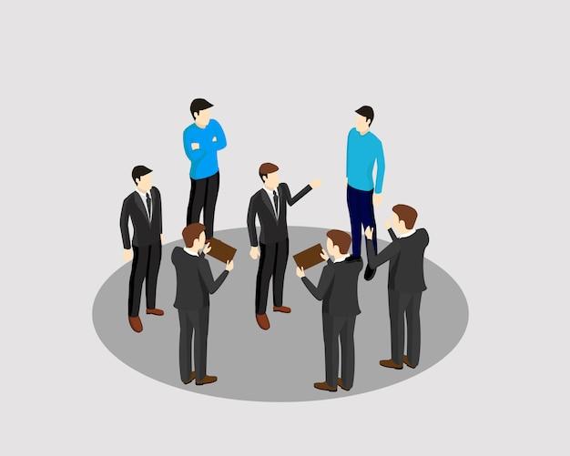 Gente una reunión de trabajo de grupo de diseño vectorial.