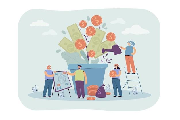 Gente rica feliz cultivando plantas financieras, regando el árbol del dinero en la pila de efectivo, analizando la riqueza y la prosperidad