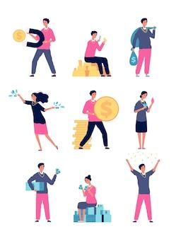 Gente rica. gente feliz con un montón de personajes millonarios de estilo de vida de lujo de dinero. ilustración persona rica con dinero, efectivo financiero