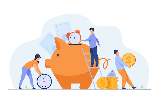 Gente rica guardando dinero en efectivo y relojes en una alcancía. ilustración de vector de tiempo es dinero, negocios, gestión del tiempo, concepto de riqueza