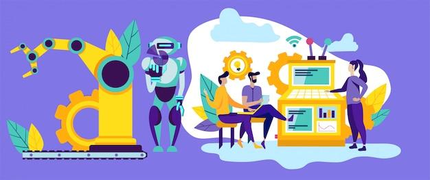 Gente y robot en producción. automatización moderna.