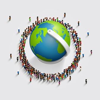 La gente rodeaba el mundo. isométrica 3d. ilustración vectorial