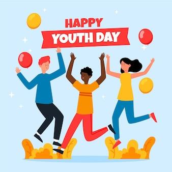 Gente saltando en el día de la juventud