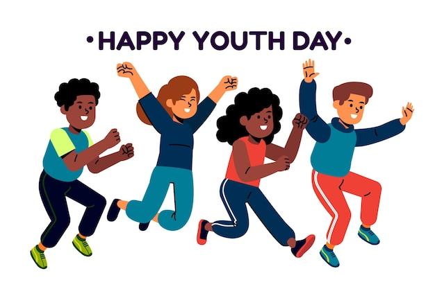Gente saltando mientras celebra el día de la juventud ilustrado