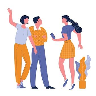 Gente saludando a mujeres en ropa casual diciendo hola