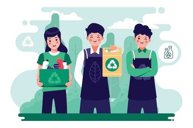 Gente salvando el planeta reciclando