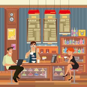 La gente se sienta en el bar y bebe café.
