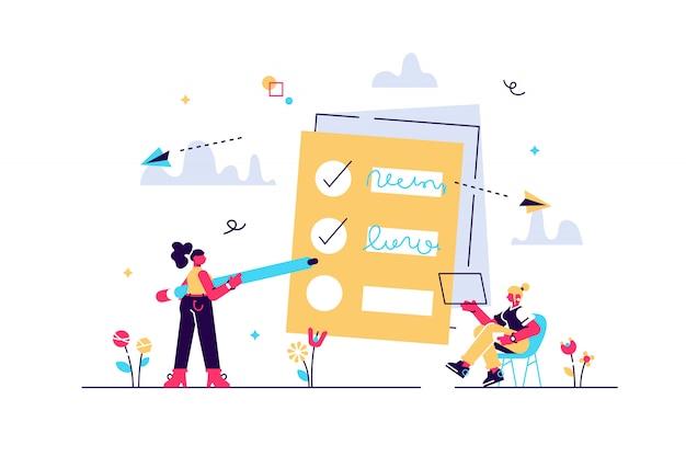 La gente se siente en las casillas de verificación en la lista de tareas pendientes. concepto de gestión de tareas de proyecto. proceso de desarrollo de software y actividades de gestión de proyectos. paleta violeta. ilustración sobre fondo blanco