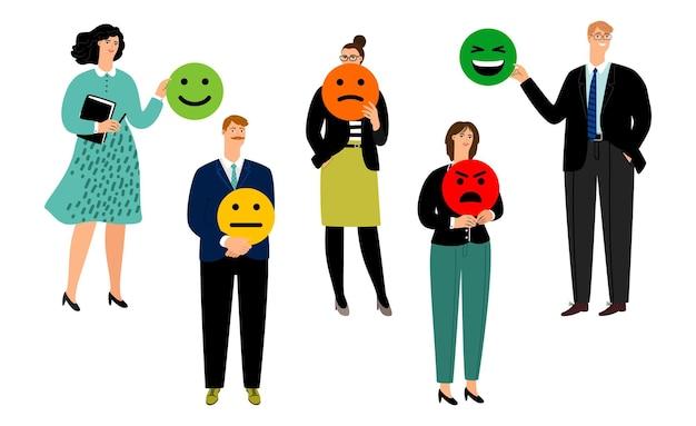 Gente y smiley. votación, clasificación o comentarios. ilustración de indicadores de estado de ánimo