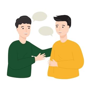 Gente socializando, saludando