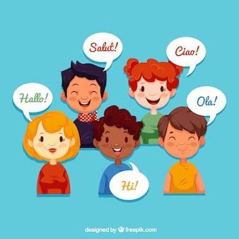 Gente sonriente hablando distintos idiomas con diseño plano