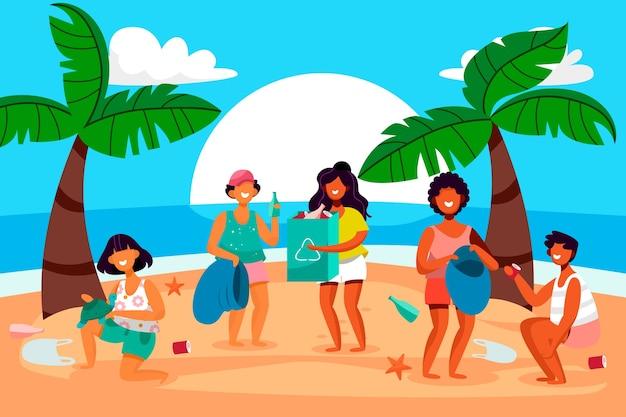 Gente sonriente ilustrada limpiando la playa