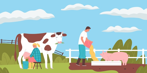 Gente sonriente ordeñando vacas y alimentando cerdos en la granja plana