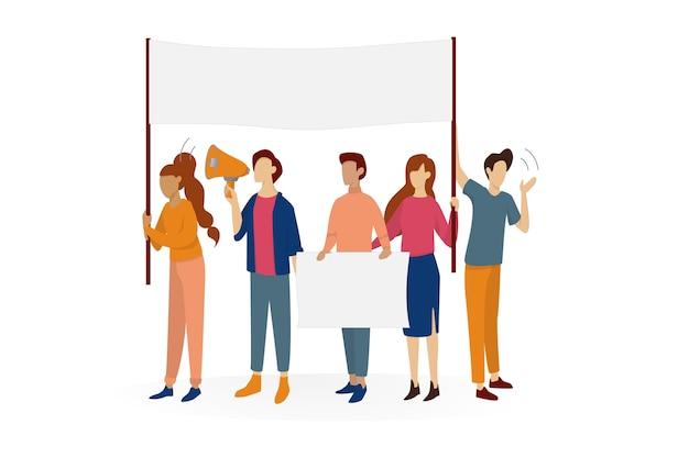 La gente sostiene la bandera. grupo de caracteres con tablero vacío en blanco para mensaje. concepto de publicidad. ilustración en estilo de dibujos animados