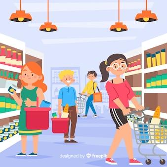 Gente en el supermercado dibujada a mano