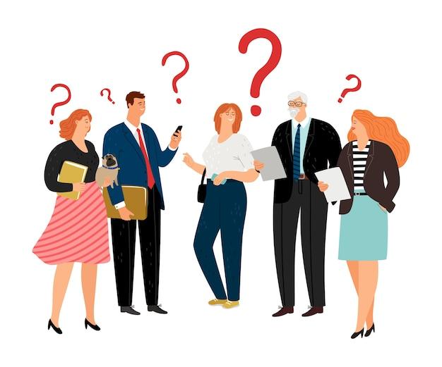 La gente tiene preguntas. signos de interrogación, personajes de vectores de equipo de negocios de diferentes edades