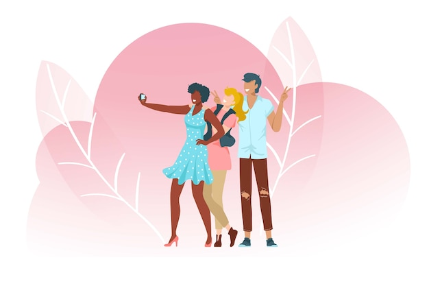 La gente se toma selfies, composición rosa con hojas, adulto, hermosa foto juvenil, dispositivo móvil, ilustración. fotografiar a chicas guapas, hombres, mujeres, turistas, adolescentes.