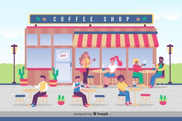 Gente tomando café en el café