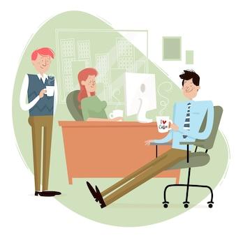 Gente tomando café en la oficina.