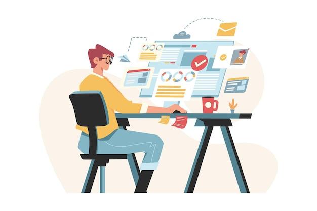 La gente trabaja desde casa frente a la computadora con datos.