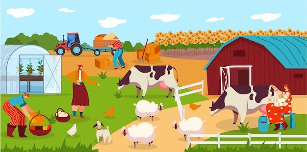 La gente trabaja en la granja, personajes de dibujos animados de animales, vaca lechera de mujer, ilustración de cosecha de campo