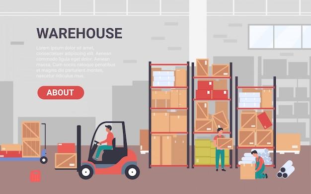 La gente trabaja en la ilustración del almacén. banner de dibujos animados para empresa de almacenamiento con personajes de trabajadores empacando tuberías de mercancías en paquetes, cargando cajas con fondo de cargador de carretilla elevadora