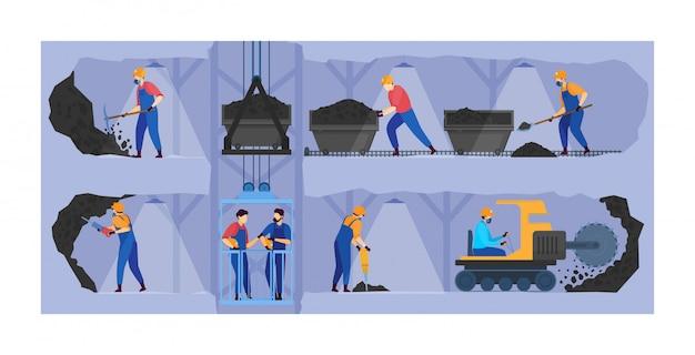 La gente trabaja en la ilustración de la industria minera, personajes mineros de dibujos animados que trabajan en túneles subterráneos, fondo de negocios mineros