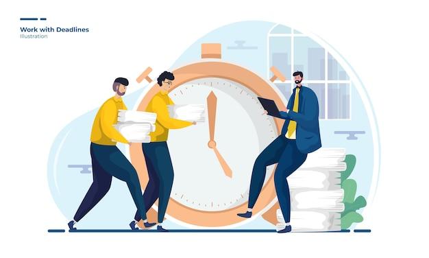 La gente trabaja con la ilustración de los plazos