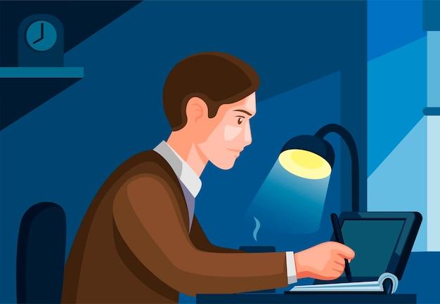 La gente trabaja o estudia desde casa. hombre escribiendo o dibujando, independiente, concepto de escena de actividades estudiantiles en la ilustración de dibujos animados