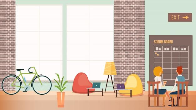La gente trabaja en la oficina creativa del espacio abierto moderno