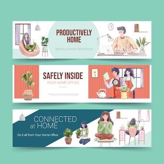 La gente trabaja desde su casa con computadoras portátiles, pc en la mesa, en el sofá y en la cocina. ilustración de acuarela de concepto de banner de oficina en casa