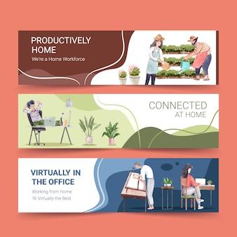 La gente trabaja desde su casa con computadoras portátiles, pc en la mesa, en el sofá. ilustración de acuarela de concepto de banner de oficina en casa