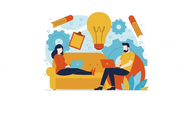 La gente trabaja desde su casa en el sofá