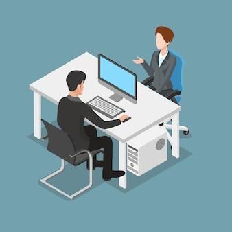 Gente trabajadora isométrica plana en la ilustración de vector de oficina