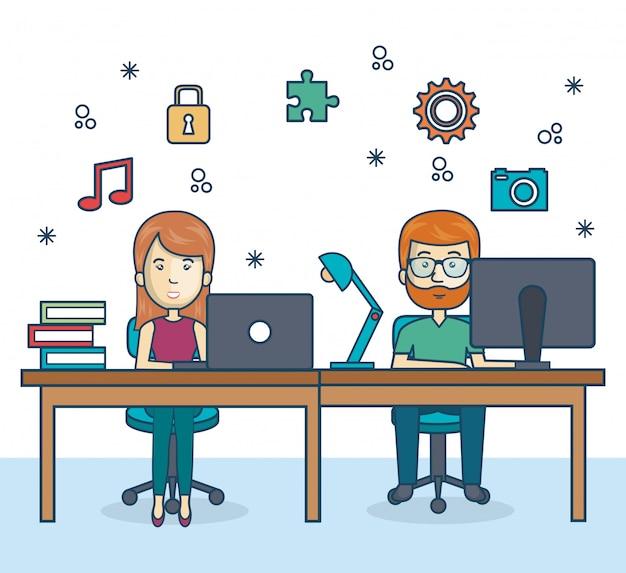 Gente trabajando icono de oficina